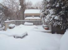 De sneeuw vulde achterdekscène Stock Foto