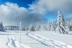 De sneeuw winter in bergen Stock Afbeelding