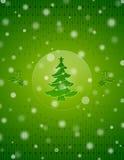 De sneeuwachtergrond van Kerstmis met Kerstmisboom en Stock Fotografie