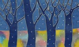 De sneeuwbos van de nacht Stock Foto
