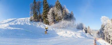 De sneeuwkanonnen die van de skitoevlucht in de sneeuw en van bomeninii winter h lopen Stock Foto