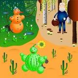 De sneeuwman, cactus en oldman in verschillende seizoenen en doorstaat stock illustratie