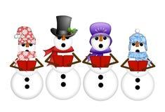 De sneeuwman Carolers zingt de Illustratie van de Liederen van Kerstmis Stock Afbeelding