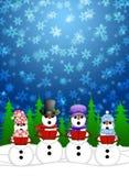 De sneeuwman Carolers zingt in de Illustratie van de Sneeuw van de Winter stock illustratie