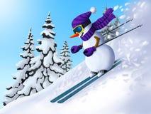 De sneeuwman daalt van de berg op skis De winter in bergen Illustratie voor het Nieuwjaar en Kerstmis Stock Fotografie