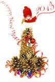 De sneeuwman, de Kerstboom, Nieuw jaar Stock Afbeelding