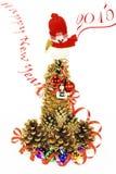 De sneeuwman, de Kerstboom, Nieuw jaar 2015 Stock Foto