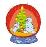 De sneeuwman en de sneeuw-hond spelen sneeuwbal - Vrolijke van ChristmasSnowman en sneeuw-hond kleding de Kerstboom - Gelukkig Ni Royalty-vrije Stock Afbeeldingen