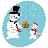 De sneeuwman geeft een gift van het Nieuwjaar Stock Foto