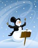 De sneeuwman leidt sneeuwstorm Vector Illustratie