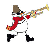 De sneeuwman speelt de trompet Stock Foto
