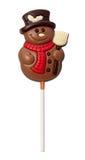 De Sneeuwman van de chocolade die met het knippen van weg wordt geïsoleerd Stock Afbeeldingen