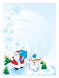 De sneeuwman van de kerstman Stock Foto's
