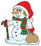 De sneeuwman van de kerstman Stock Fotografie