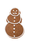 De sneeuwman van de Kerstmispeperkoek op een witte achtergrond wordt geïsoleerd die Royalty-vrije Stock Afbeeldingen