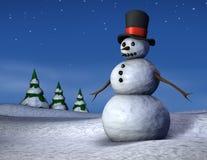 De Sneeuwman van de nacht royalty-vrije stock afbeelding