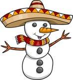 De Sneeuwman van de Vakantie van Kerstmis van de sombrero Royalty-vrije Stock Afbeeldingen