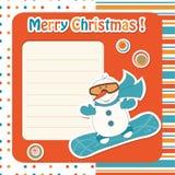 De sneeuwman van het beeldverhaal op snowboard vector illustratie