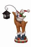 De sneeuwman van het nieuwjaar het berijden herten Royalty-vrije Stock Afbeeldingen