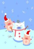 De sneeuwman van het varken stock foto