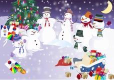 De sneeuwman van Kerstmis Stock Afbeeldingen