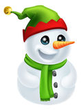 De Sneeuwman van Kerstmis in de Hoed van het Elf Royalty-vrije Stock Foto's