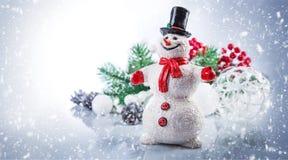 De sneeuwman van Kerstmis De kaart van de vakantiegroet copyspace Stock Afbeeldingen