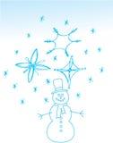 De sneeuwman van Kerstmis. Getrokken hand Stock Afbeeldingen