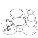 De sneeuwman van Kerstmis. Getrokken hand Royalty-vrije Stock Fotografie