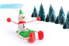 De sneeuwman van Sledding Royalty-vrije Stock Afbeelding