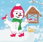 De sneeuwman voedt de vogels stock illustratie