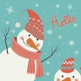 De sneeuwman zegt hello vector illustratie