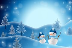 De sneeuwmanachtergrond van Kerstmis Stock Afbeelding