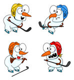 De sneeuwmannen spelen hockey Royalty-vrije Stock Fotografie