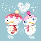 De sneeuwmannen van de liefde Stock Afbeeldingen