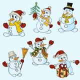 De sneeuwmannen in verschillend stelt Royalty-vrije Stock Afbeeldingen