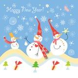 De sneeuwmannenvrienden van de prentbriefkaar Stock Afbeeldingen