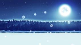 De sneeuwnachtscène perfectioneert tweede lijn 5 stock videobeelden