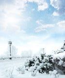 De sneeuwscène van de winterkerstmis Stock Afbeeldingen