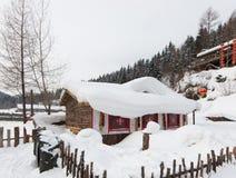 De sneeuwstad Stock Foto