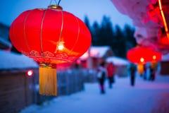 De sneeuwstad en lantaarns van China s royalty-vrije stock afbeeldingen