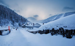 De sneeuwstad van China royalty-vrije stock foto