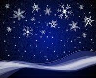 De sneeuwval van Kerstmis nightime Royalty-vrije Stock Afbeeldingen