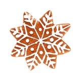 De sneeuwvlok isoleert Kerstmiskoekje op Wit Stock Foto's