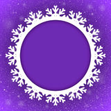 De Sneeuwvlok van cirkelviolet background new year snow Stock Foto