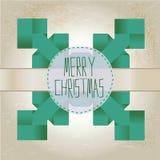 De sneeuwvlok van de origami met vrolijke Kerstmisteksten vector illustratie