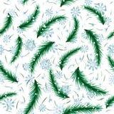 De sneeuwvlok van de winter en het naadloze patroon van de sparbrunch. Royalty-vrije Stock Foto's