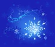 De sneeuwvlok van het kristal op een blauw Royalty-vrije Illustratie