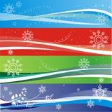 De sneeuwvlokbanners van de winter Stock Afbeeldingen