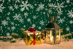 De sneeuwvlokken van de Kerstmislantaarn Stock Fotografie